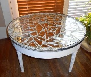 Broken Mirror Mosaic Table - may add some colored glass too?