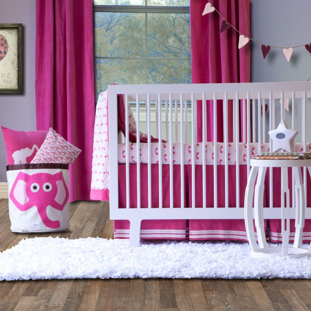 Kate Quinn Pink Elephant Organic Crib Set