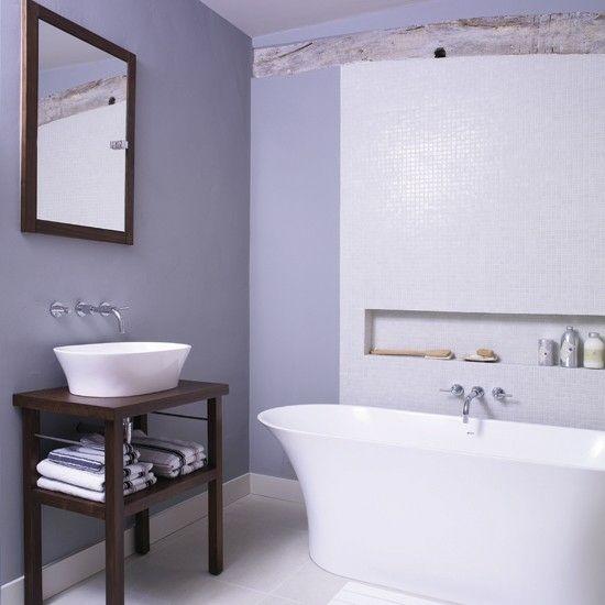 Wohnideen Badezimmer lila Farbe modern
