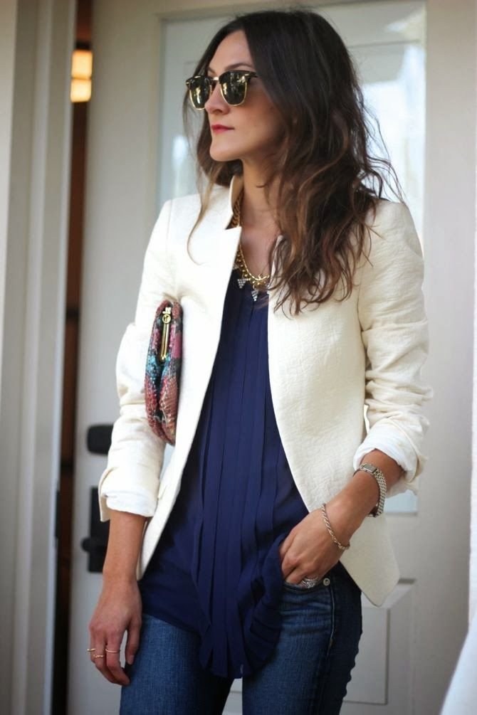 f82642510d5 Business casual work outfit  cream blazer