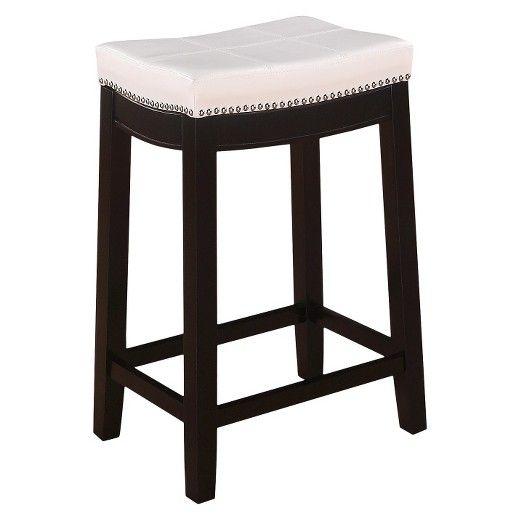 Linon Padded Saddle Seat 24 Counter Stool Hardwood White