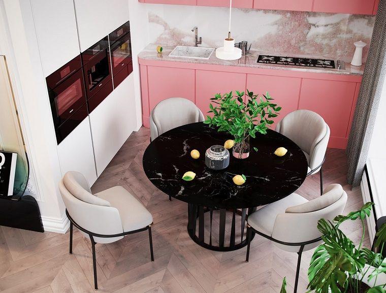 Case Moderne Interni Foto.Case Moderne Interni Cucina Di Colore Rosa E Bianco