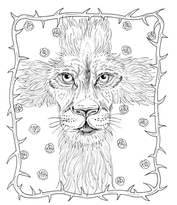 Christian Instant Download Easter Coloring Page Bible God Cross Lion