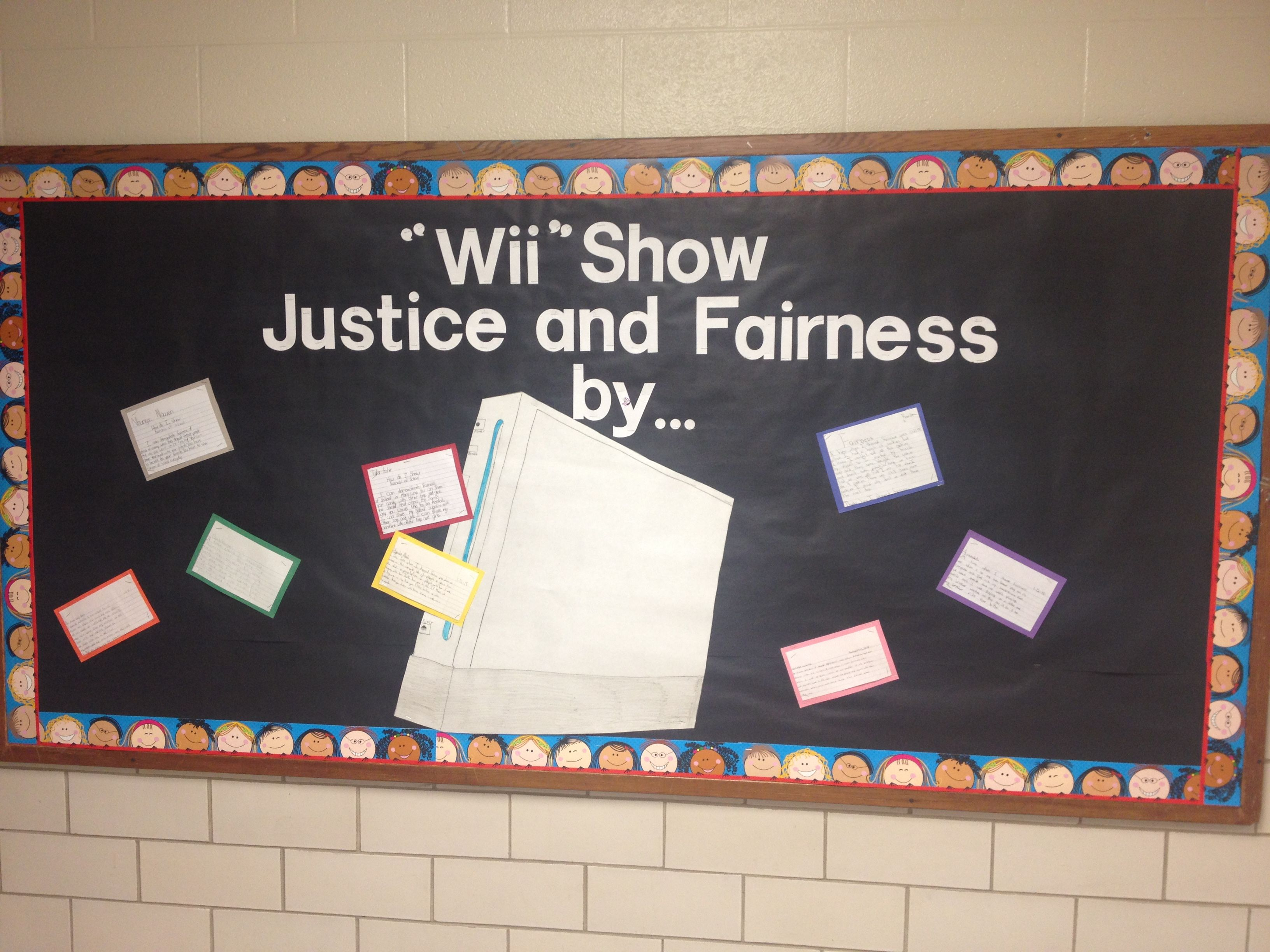 The Students Had To Write About How They Show Justice And Fairness Classroom Bulletin Boards Bulletin Boards Classroom Door Bulletin Boards