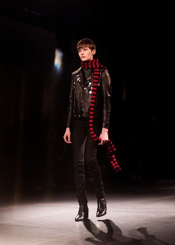 Red and black stripe beano scarf and leather biker at Saint Laurent AW15 PFW. See more here: http://www.dazeddigital.com/fashion/article/23376/1/saint-laurent-aw15