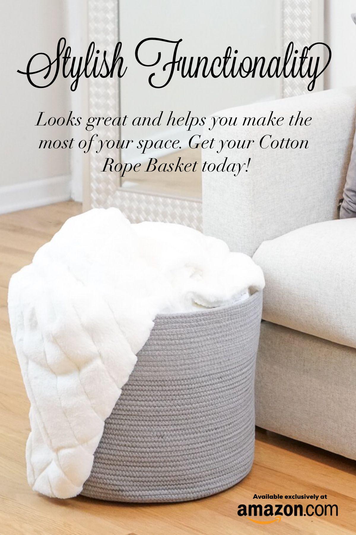 Grey Cotton Rope Storage Basket Large Nursery Bin Laundry Hamper Laundry Hamper Nursery Bins Storage Baskets #storage #bins #for #living #room