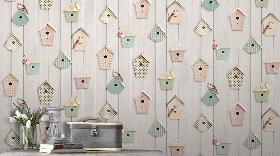 Papier peint oiseaux  le printemps dans la maison Walls - Poser Papier A Peindre