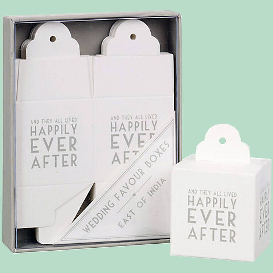 Eight Art Deco Text Wedding Favour Boxes