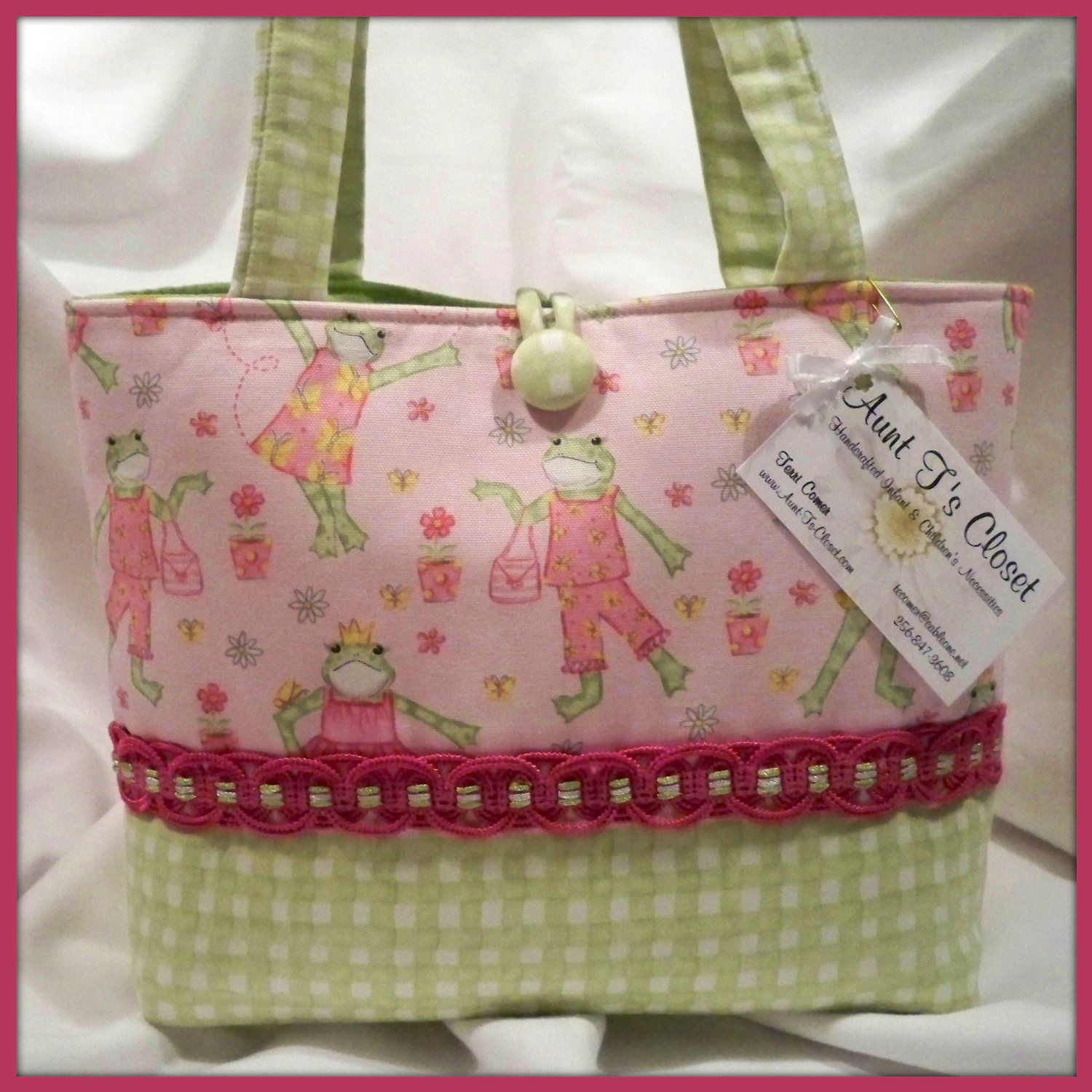 Pink Fashion Frogs with Green Check Medium Diaper Bag / Tote Bag for Etsykids. $29.99, via Etsy.