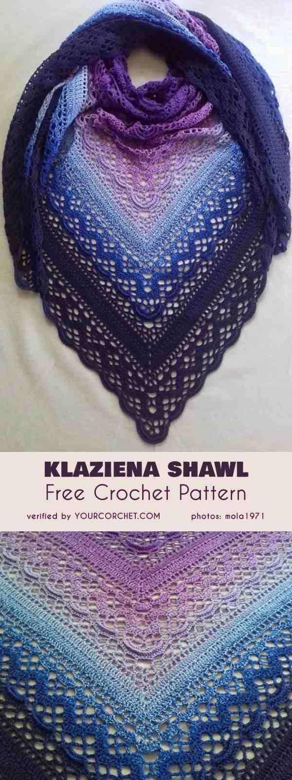 Klaziena Shawl Free Crochet Pattern - #Crochet #free #Klaziena #pattern #shawl