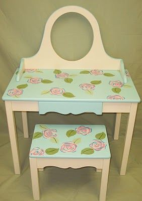 diy vanity for little girl. This was a little girls vanity set  I love to hand paint furniture