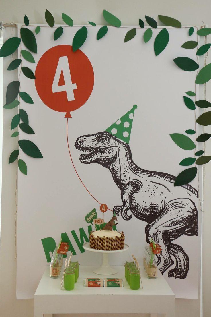 dinosaur party backdropposterbanner printable mit