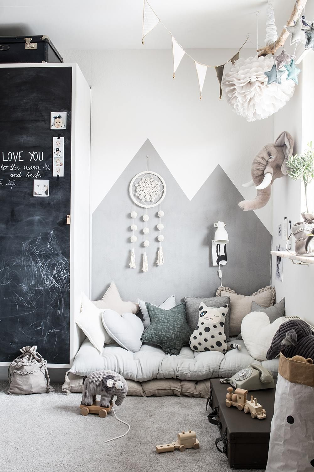 Grey children's room with lots of details