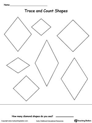 Trace and Count Diamond Shapes | Pre K and Kindergarten Printables ...