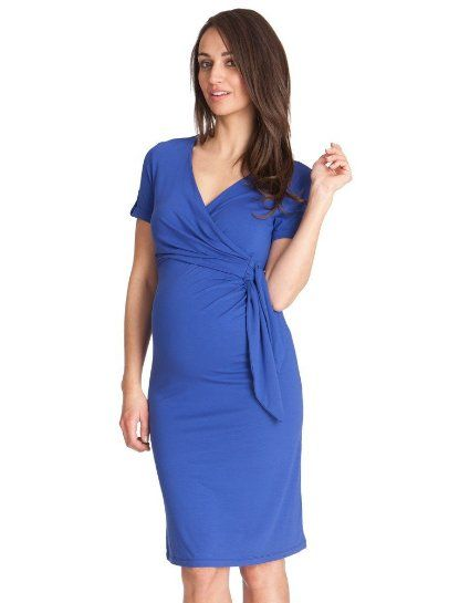 2a5e1718c3756 Amazon.com: Seraphine Maternity Women's Sapphire Wrap Maternity Dress:  Clothing