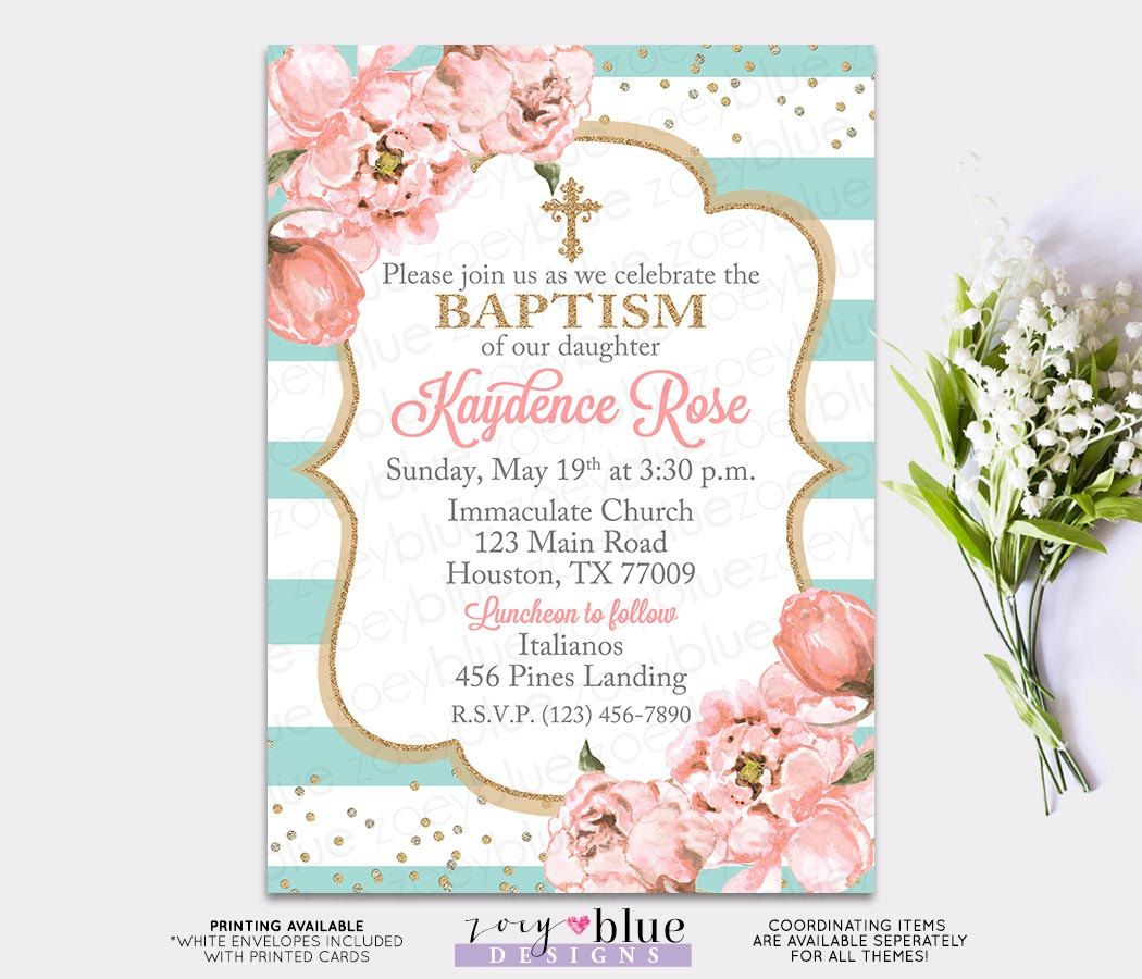 Blush Pink And Turquoise Peonies Girl Baptism Invitation