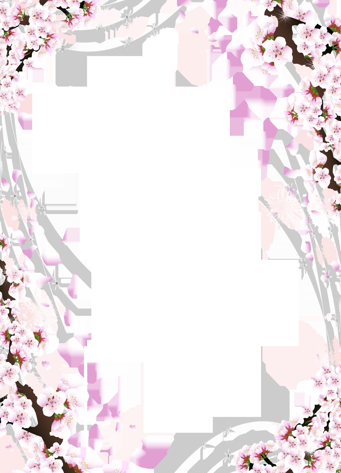 Cherry Blossom Tree Png Google Search Flower Frame Cherry Blossom Background Flower Border