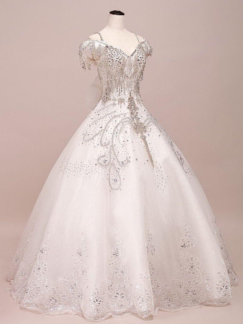 bling crystal quality luxury bride v neck double shoulder train