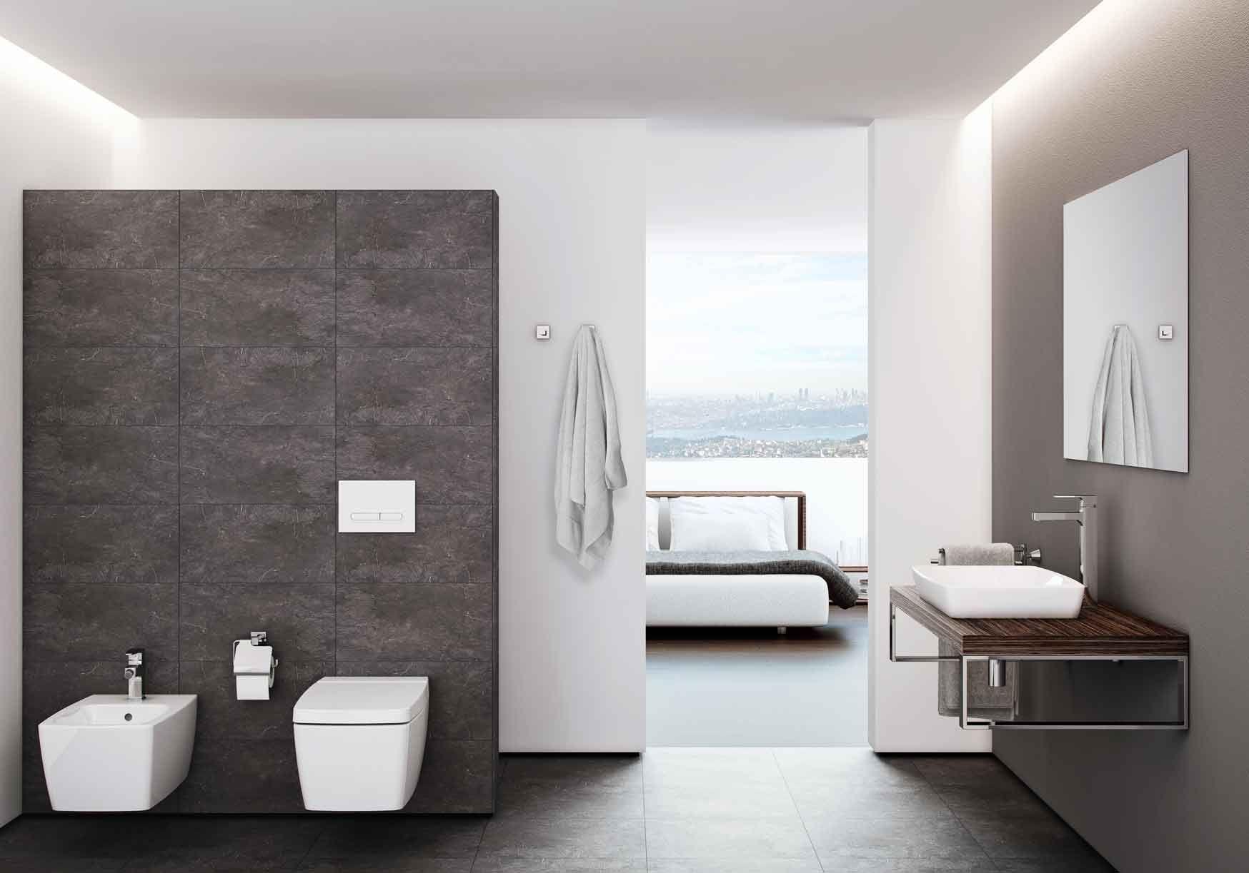 5675 Wall-hung bidet - 5676 Wall-hung WC pan, with VitrA Fresh - 90 ...