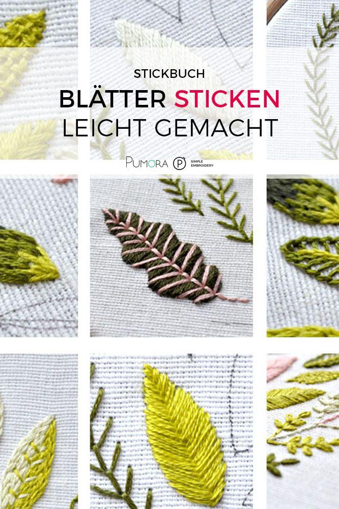 Blätter sticken lernen Ebook, Tutorial Stickanleitungen, einfaches Stickmuster, Stickbuch PDF