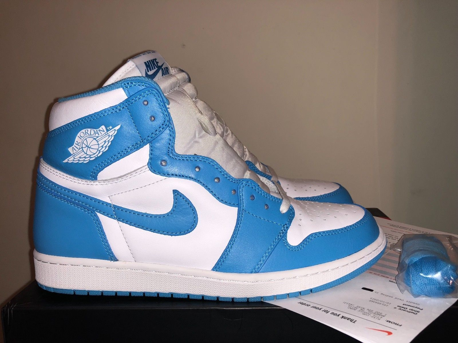 e35d5768115e 2015 Nike Air Jordan 1 Retro High OG UNC I Powder Blue White Men s Sz 11  Receipt