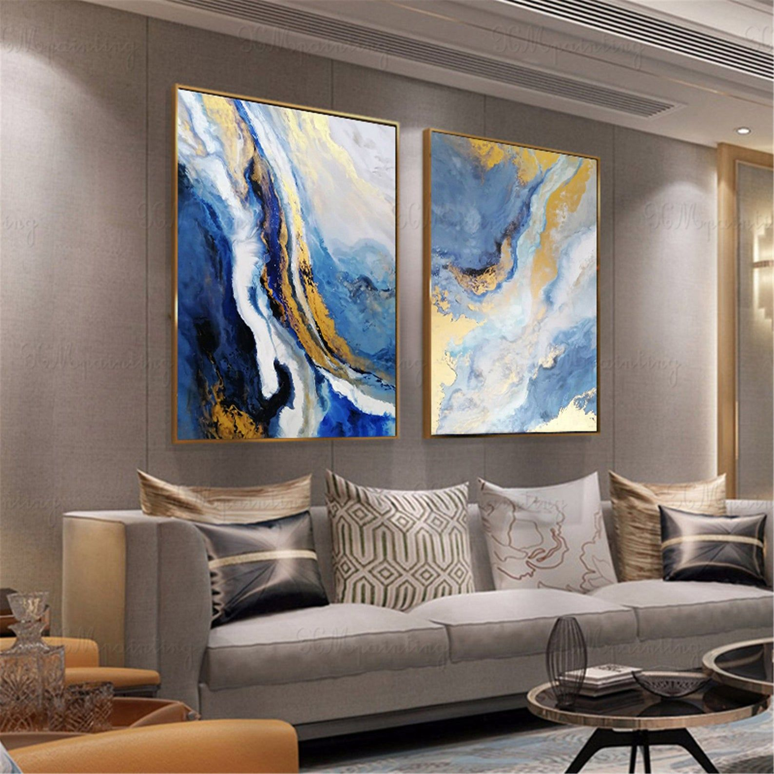 Navy Blue Abstract Painting Framed Canvas Wall Art Picture For Etsy Abstract Wall Art Living Room Blue Abstract Painting Abstract Canvas Painting