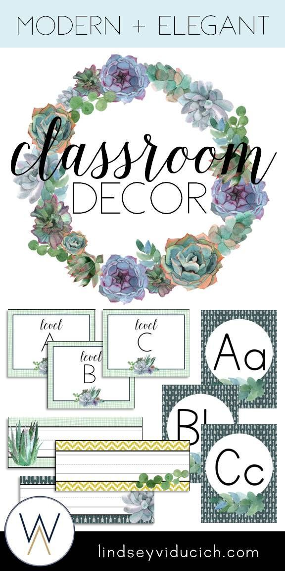 Editable Classroom Decor ~ Watercolor succulent theme classroom decor editable