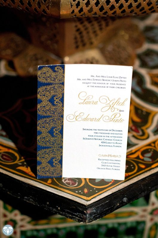 Letterpress #wedding #invitation, Indian design, featured in the knot