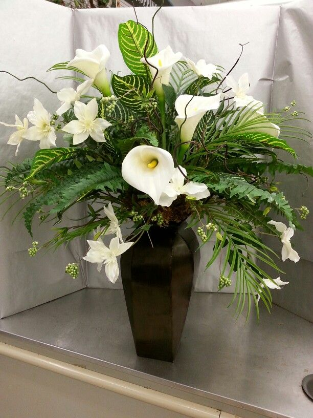 White Lilies And Zebra Plant Easter Flower Arrangements Zebra Plant Flower Arrangements