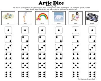 Artic Dice 6 Vocalic R Articulation Practice For Speech Therapy