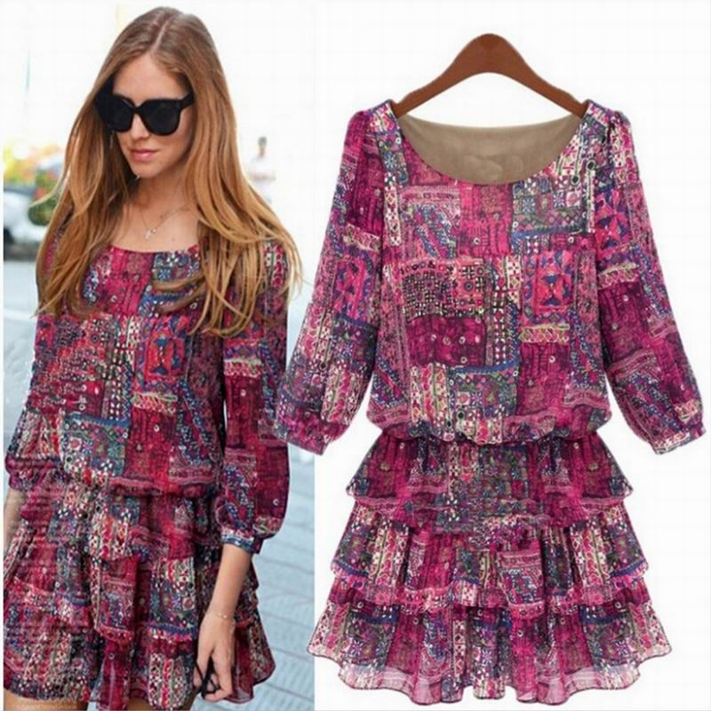 Women Summer Dress Fashion Loose Style Plus Size Clothing Rose Print