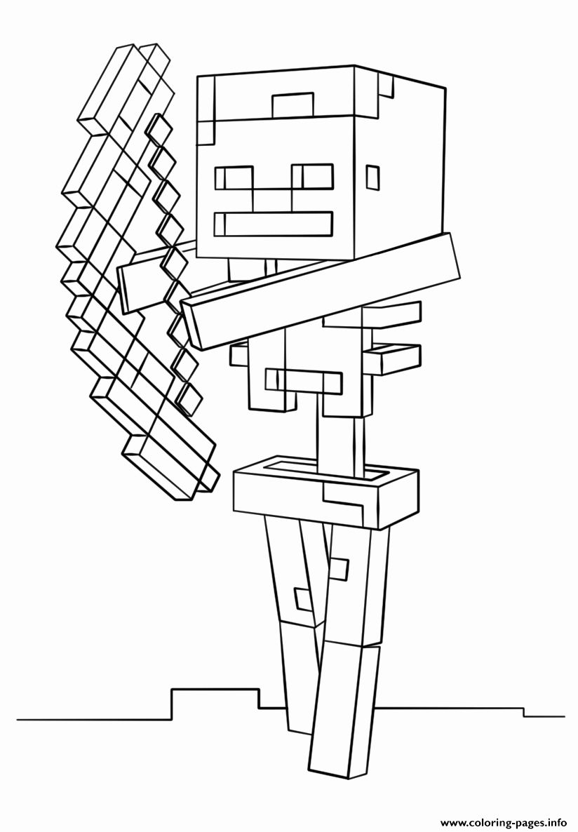 Minecraft Skeleton Coloring Page Luxury Minecraft Skeleton With Bow Coloring Pages Printable In 2020 Minecraft Coloring Pages Minecraft Skeleton Coloring Pages