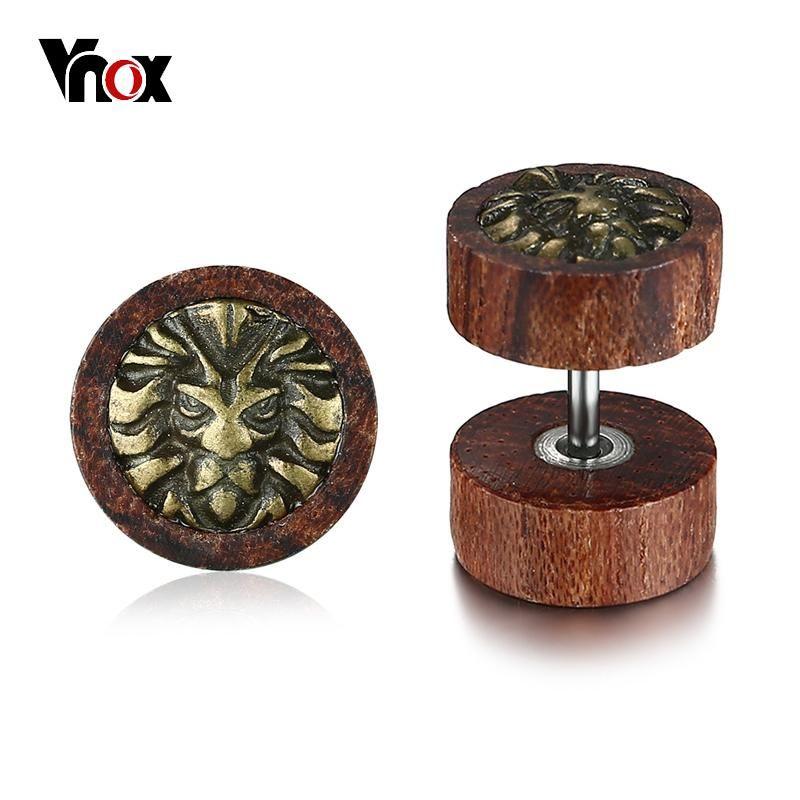 Vnox Punk Lion Stud Earrings for Men Unique Brown Wood Wooden ...