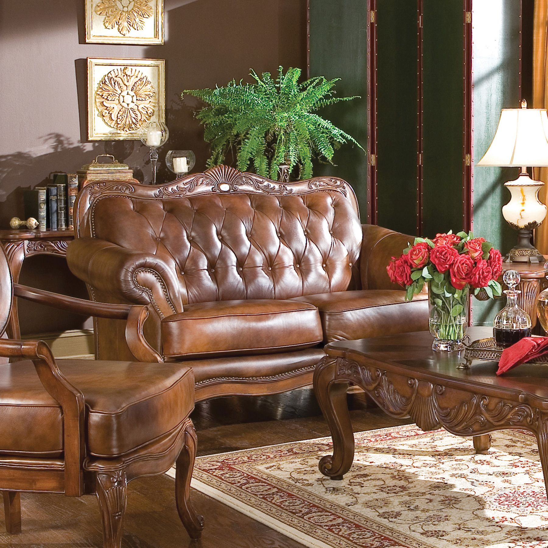 Best Coaster Company Brown Leather Tufted Victoria Sofa 86 X 640 x 480