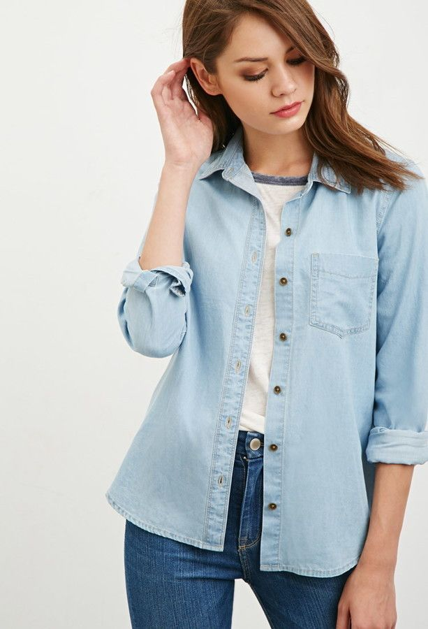 c1190126331 Pin by Lookastic on Denim Shirts