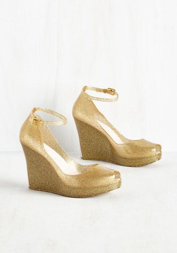 Rush Of Gold Wedge Mod Retro Vintage Heels Modcloth Com Wedge Wedding Shoes Wedding Shoes Gold Heels Gold Wedding Shoes