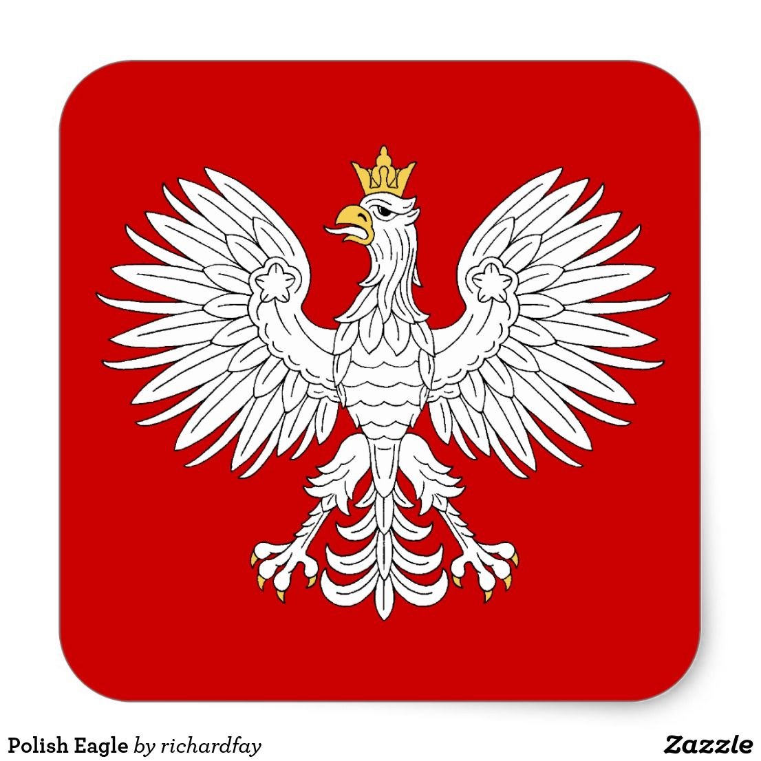 polish eagle square sticker