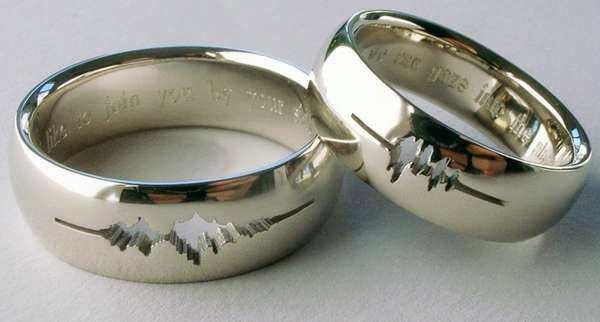 Sound Wave Wedding Rings Personal Bands
