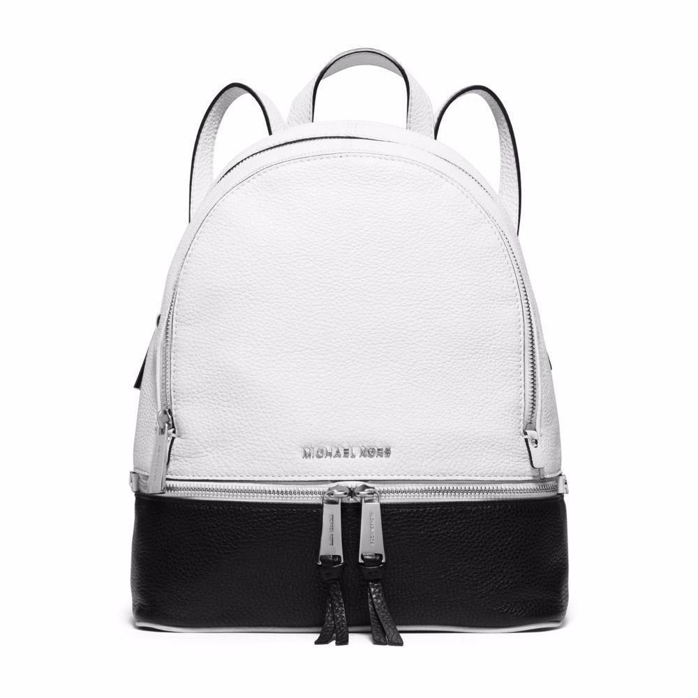749e752117de Michael Kors Rhea Leather Backpack - White and Black Colorblock  #MichaelKors #BackpackStyle