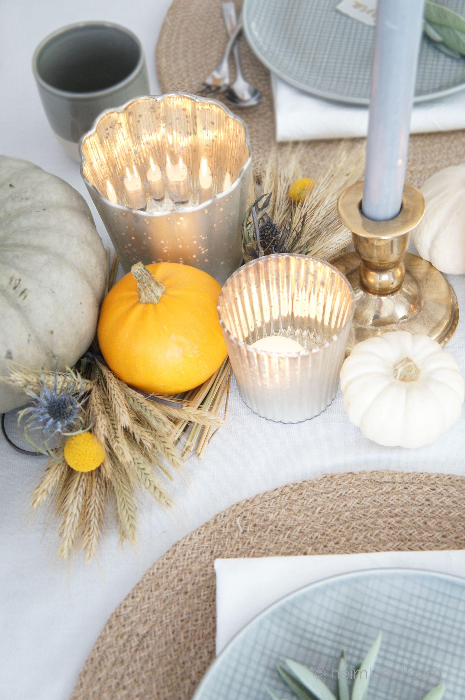 Herbstliche Tischdekoration Furs Erntedankfest Tischdeko Mit
