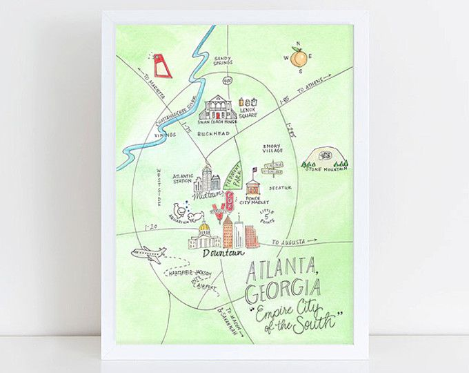 Georgia Watercolor Map Print // Atlanta Macon Athens UGA State Print ...