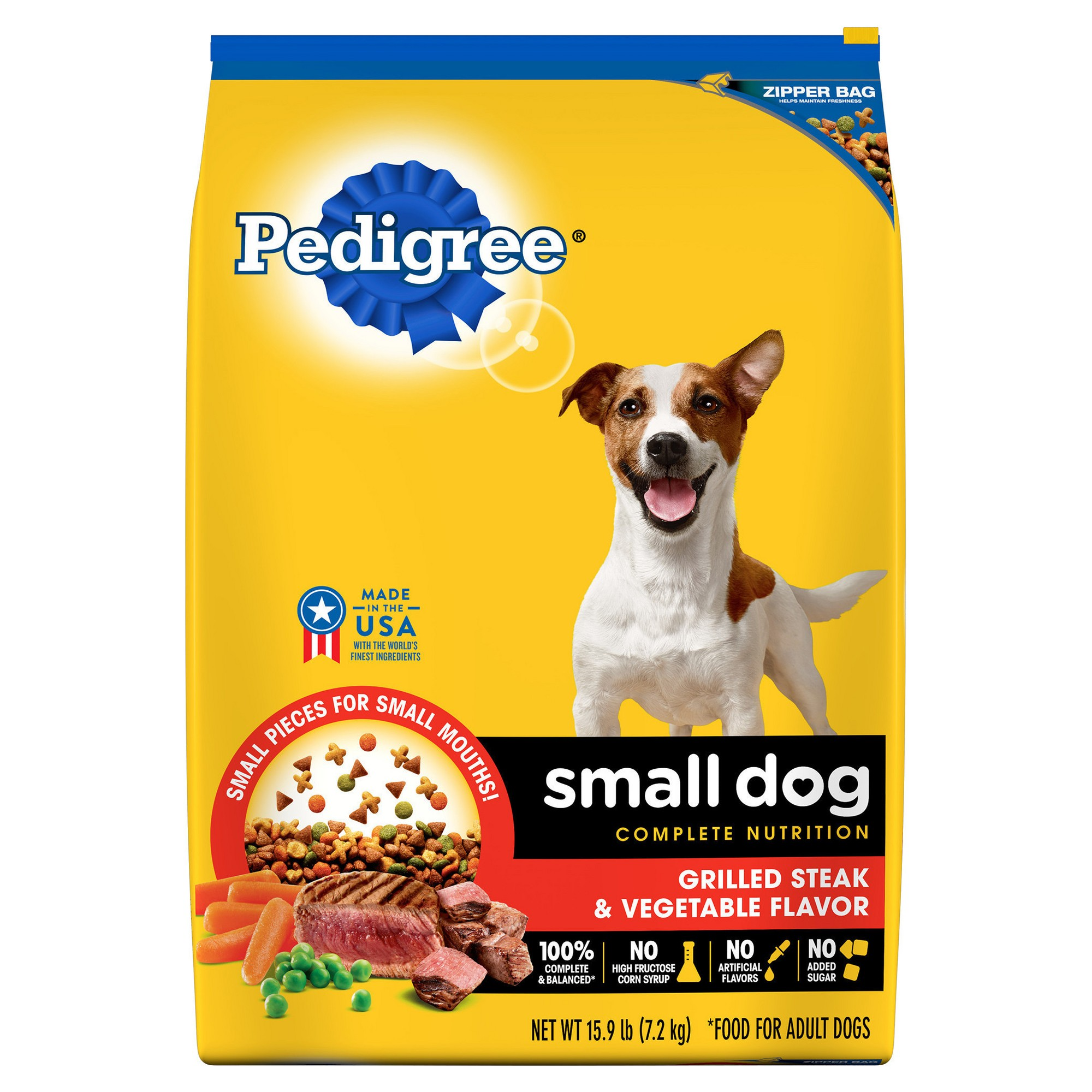 Pedigree Small Dog Steak Vegetable Dry Dog Food 15 9lb Bag