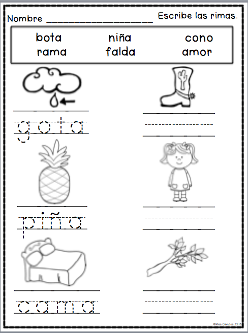 rimas spanish rhyming spanish resources for k 1 palabras que riman actividades de rimas. Black Bedroom Furniture Sets. Home Design Ideas