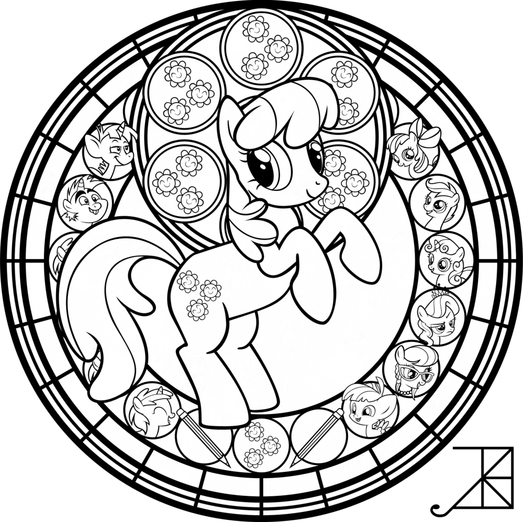 Cheerilee Stained Glass -line art- by Akili-Amethyst.deviantart.com on @deviantART