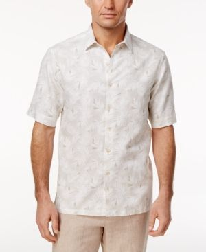 Tasso Elba Men's Leaf and Dot Print Shirt, Only at Macy's - White XXL