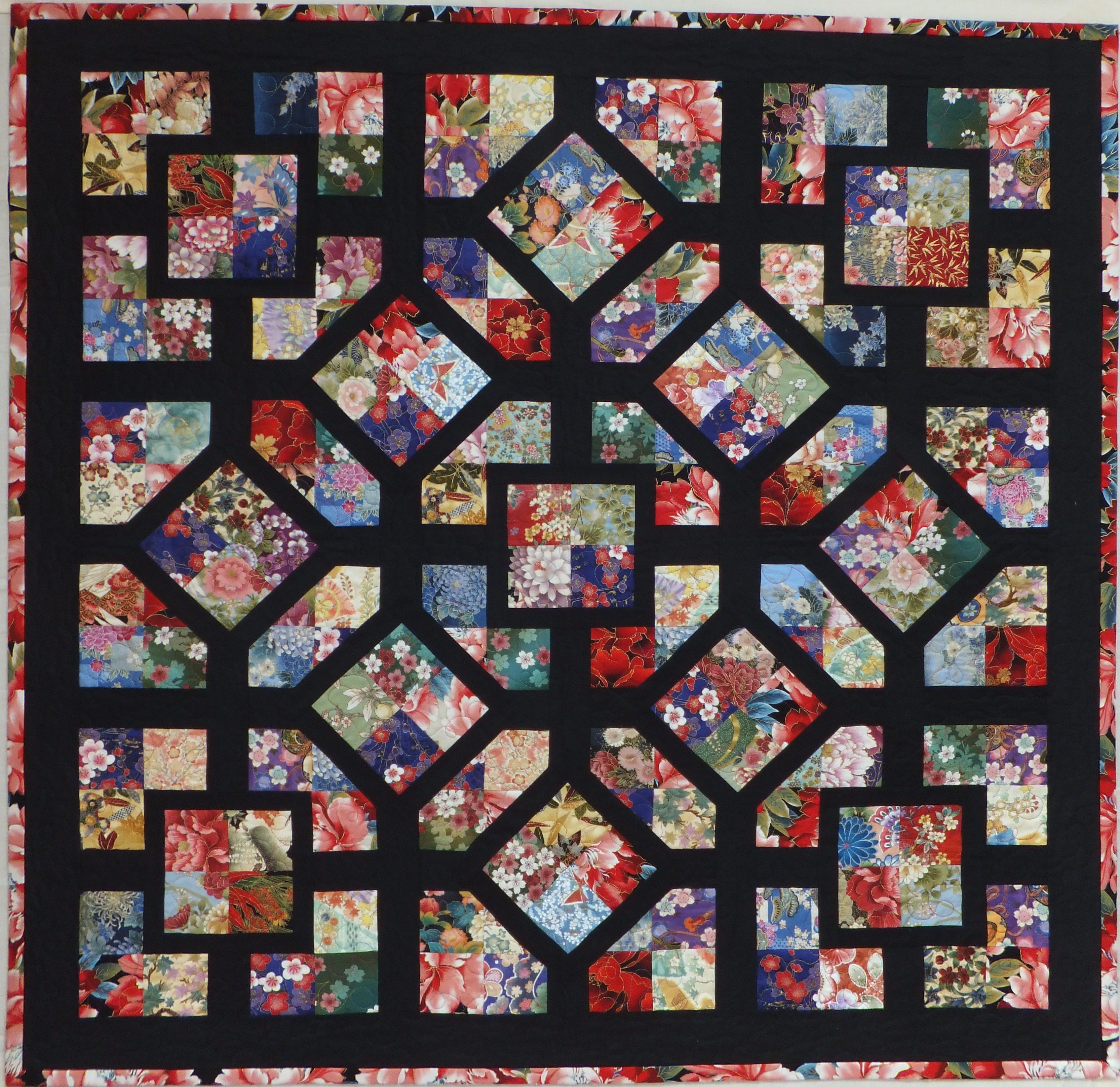 simple four patch blocks made from 3 1/2? strips or squares, the eight diagonally set blocks are ...
