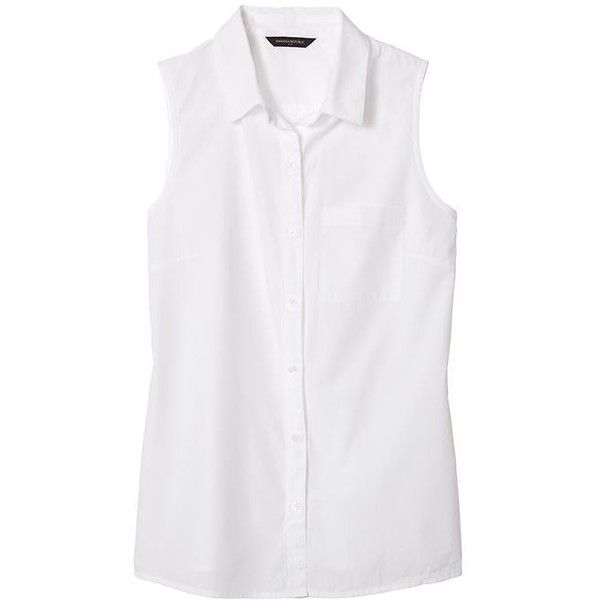 84075fc22bd Banana Republic Factory Sleeveless Poplin Button Up Shirt ( 33) ❤ liked on  Polyvore featuring tops