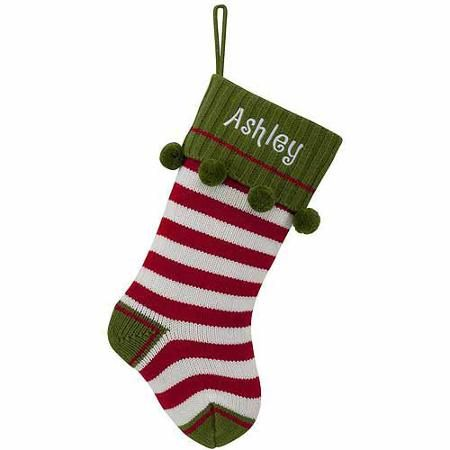 personalized red striped knit christmas stocking walmartcom - Christmas Stockings Walmart