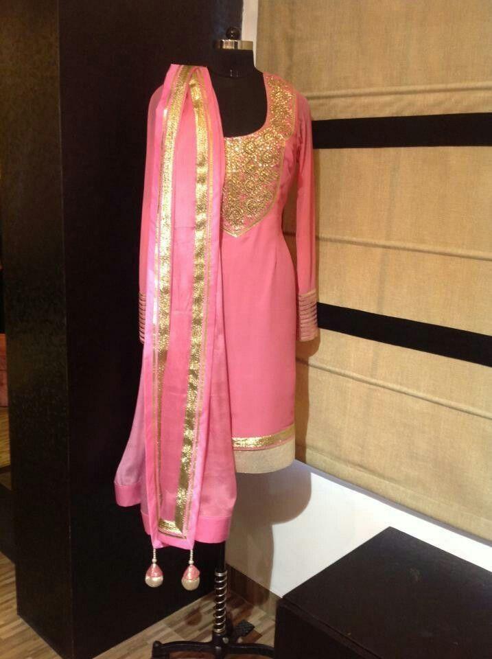 Pashmina silk with elegant gotta patti work #punjabisuitdesings ...
