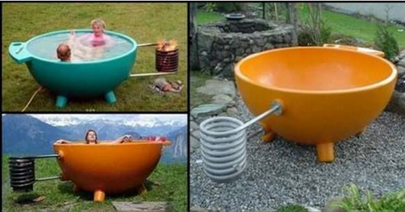Relax in This Hot Tub While You Watch as The Flames Naturally Heat The Water
